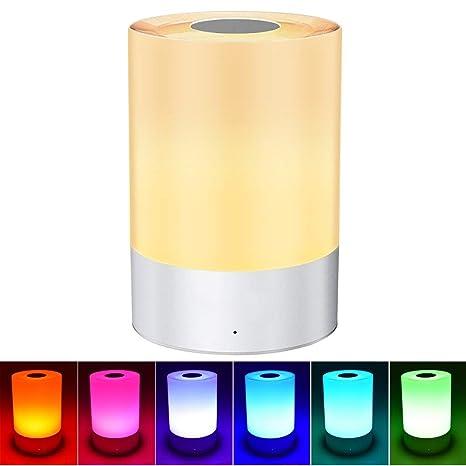 Lámpara de mesa Weihao, sensor táctil, luz nocturna para ...