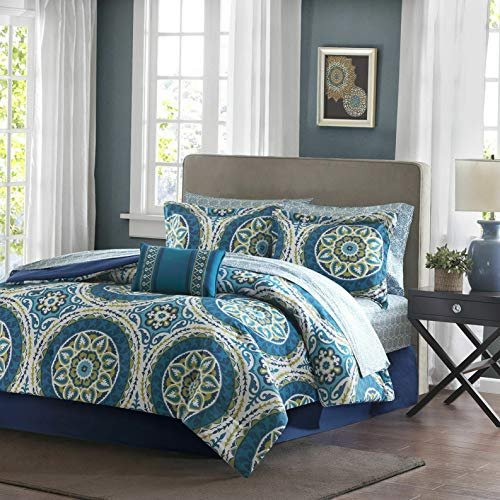 Kaputar Beautiful Modern Blue Teal Aqua Green Bohemian Global Comforter Set Sheets | Model CMFRTRSTS - 3533 | - Raiders Tiger Aqua