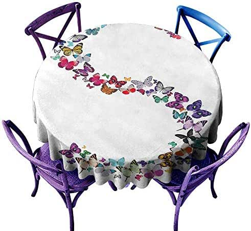 Round Outdoor Tablecloth,Letter S,Capital Letter S Consisting of Various Colored Shaped Butterflies Exotic Animals,Table Cover for Kitchen Dinning Tabletop Decoratio,40 INCH Multicolor