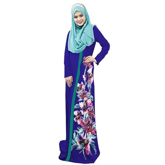 9f252828379 BOZEVON Robe Musulmane à Taille Ample - Robe Longue imprimée Flora(Hijab  Non Inclus)