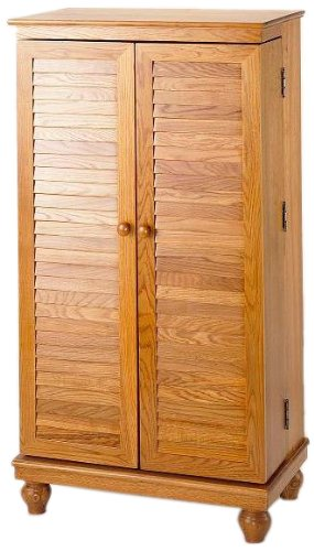 Leslie Dame CD-612V Solid Oak Mission Style Multimedia Storage Cabinet with Louvered Doors, Oak
