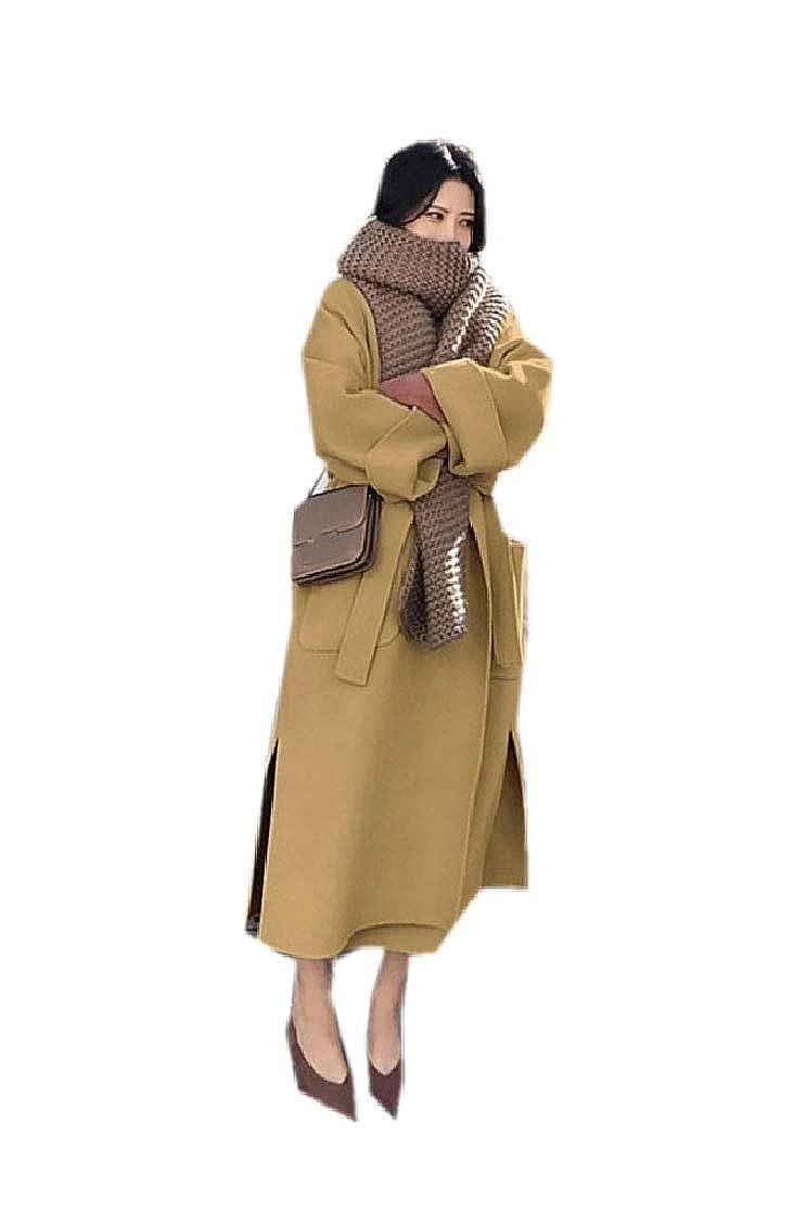 YUNY Womens Wool Thicken Longline with Belt Shawl Collar Outwear Jacket 2 XS