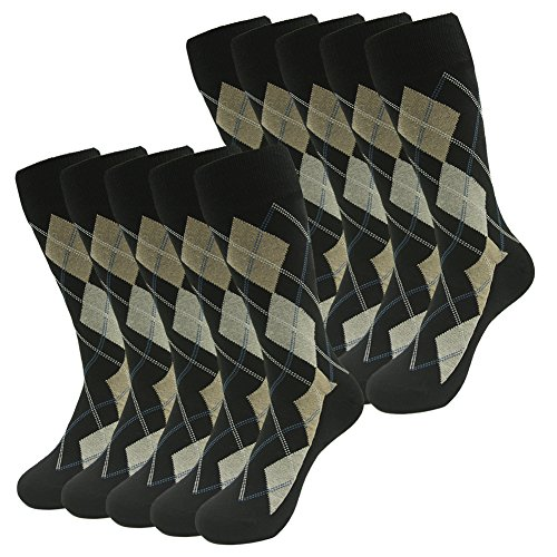 Crew Dress Socks,SUTTOS Groomsmen Wedding Socks,Mens Boys Crazy Funky Socks Yellow Black Grey Argyle Nordic Plaid Mid Calf Socks Men's Classic Argyle Dress Socks Valentine's Day Gift,10 Pack from SUTTOS