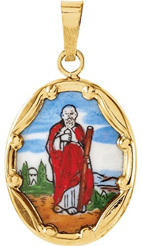 - 14k Yellow Gold St. Jude Hand-Painted Porcelain Medal (17x13.5MM)