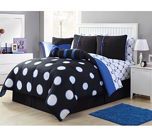 8 Piece Girls Polka Dot Themed Comforter Twin Set, All Over Beautiful Polka Dots Pattern, Pretty Darling Bow Printed Reversible Bedding, Luxurious Look Design, Contemporary Style, Black Blue White