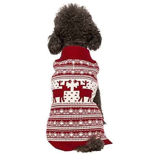 Blueberry Pet 6 Patterns Vintage Festive Red Ugly Christmas Reindeer Holiday Festive Dog Sweater, Back Length 20', Pack of 1 Clothes for Dogs