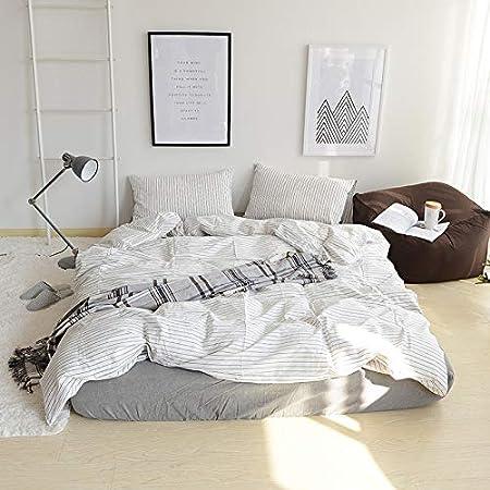 Sábana bajera ajustable de algodón estilo japonés de cuatro piezas de algodón a rayas de algodón de 1,8 m de salida de fábrica, A, 120cm*200cm: Amazon.es: Hogar