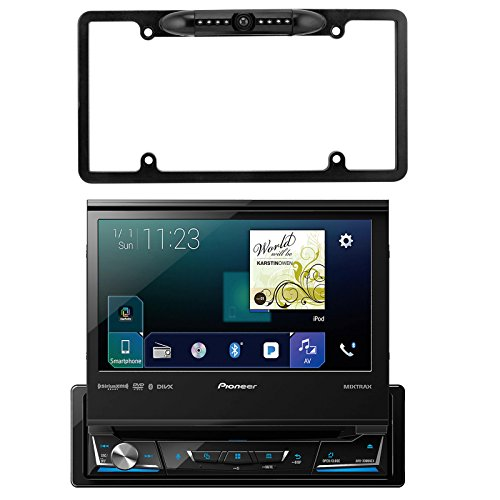 "Pioneer 7"" Flip Out DVD Bluetooth Receiver, Enrock Car License Plate Frame Rear View Backup Waterproof Camera"