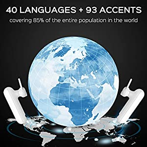 Language Translator Device – Supports 40 Languages & 93 Accents, Instant AI Voice Translating Headset, Wireless Bluetooth Smart Translate Headphones Earbuds Earpiece with APP for iOS & Android