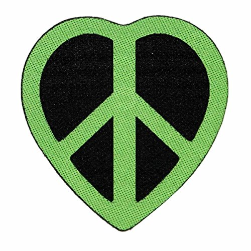 Green Peace Sign Heart Hippie Woven Sew On Patch Hippie Love Badge Applique by Mia_you