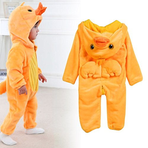 TRENDINAO Newborn Baby Girl Boy Winter Clothes Yellow Duck Hooded Romper Warm Outwear Halloween Animal Clothes