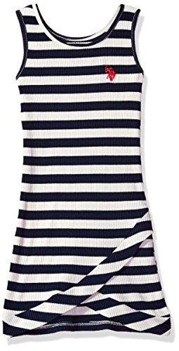 U.S. Polo Assn. Big Girls' Drop Needle Tank Dress, Classic Navy, 8/10 - Kid Drop