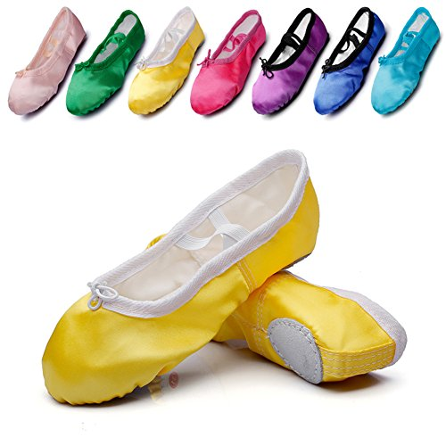 Kid Girl's Satin Practise Ballet Slipper Yoga Shoe,Yellow,Toddler,10 M US ()