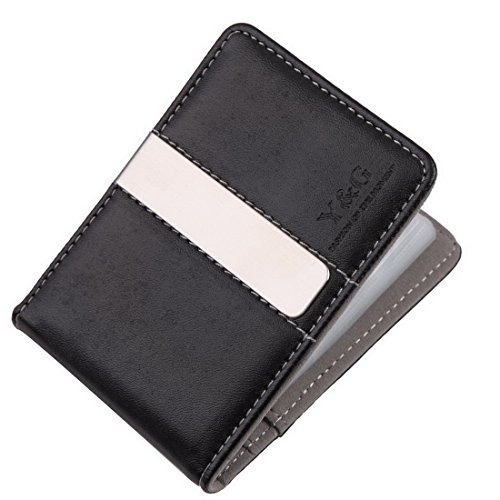 YCC1005 Gray Black Leather Wallet Money Clip 15 Card Holder Designer For Mens Perfect Economics Presents By Y&G