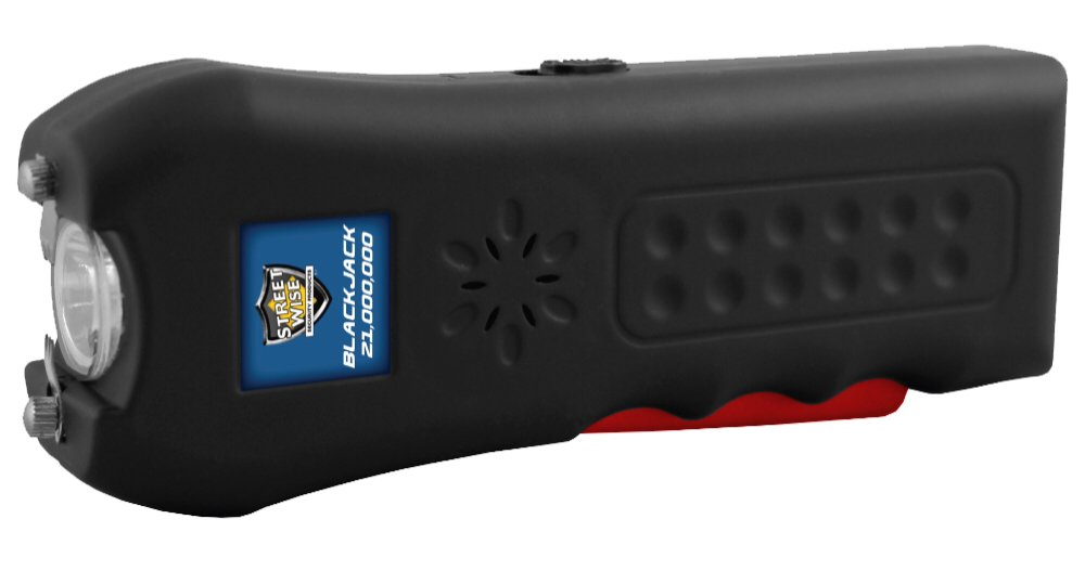 1 Ranked Back to School Stun Gun 21 Million Volt Rechargeable LED Flashlight with Loud Alarm Disable Pin, Black