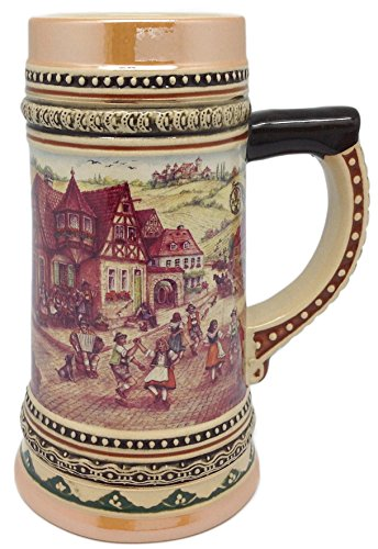 Ceramic Beer Stein with German Village Dancers 4.5