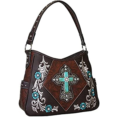 Western Rhinestone Studs Cross Floral Embroidered Handbag Purse With Matching Wallet