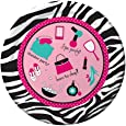 Creative Converting Pink Zebra Boutique Border Printed Round Dinner Plates, 8 Count