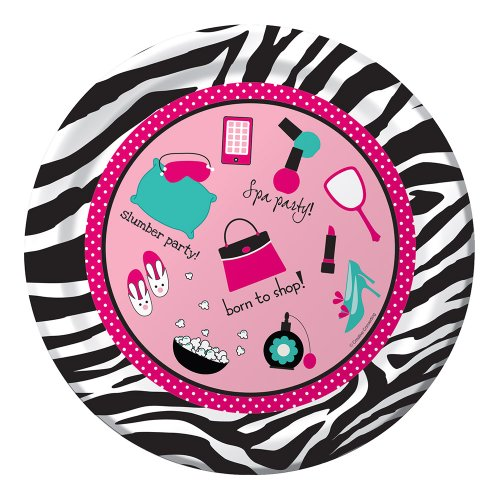 Creative Converting Pink Zebra Boutique Border Printed Round Dinner Plates, 8 Count]()