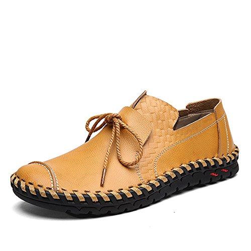 WZG zapatos de cuero de los nuevos hombres de Inglaterra zapatos casuales suave y cómodo de encaje bolsa de cuero cosido a mano Yellow