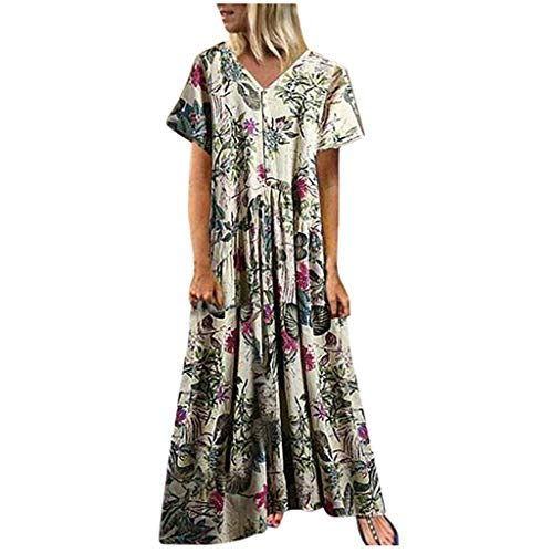 Dressin Women Floral Dress Bohe Long Dress Sleeveless V Neck Dresses Sundress with Pocket ()