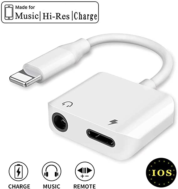 for iPhone 7 Headphone Jack Adapter for iPhone Dongle 2 in 1 Chargers /& Audio Connector Charger Adapter for iPhone 7//7 Plus 11// X//XS//XR Headphone Adapter Support All iOS System 8//8 Plus