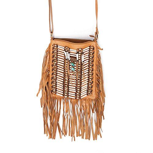 Beige Boho Bag | Real Leather | Fringe Purse | Bohemian Bags | Hobo Tote ()
