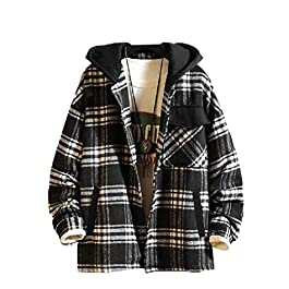 Men's Overcoat Hooded Woolen Plaid Single-Breasted Walking Coat