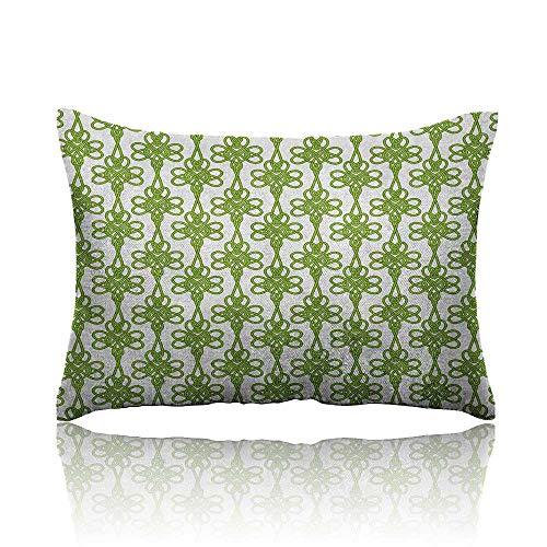 Anyangeight Irish Cool Pillowcase Entangled Clover Leaves Twigs Celtic Pattern Botanical Filigree Inspired Retro Tile Long Pillowcase 16