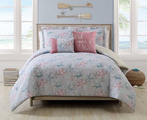 5 Piece Cabrillo Beach Gray/Ivory/Coral Reversible Comforter Set Queen (And Bedding Gray Coral)