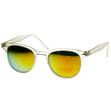 beb397365c zeroUV - Small Retro P3 Horn Rimmed Sunglasses with Color Mirror Lens  (Frost Sun)