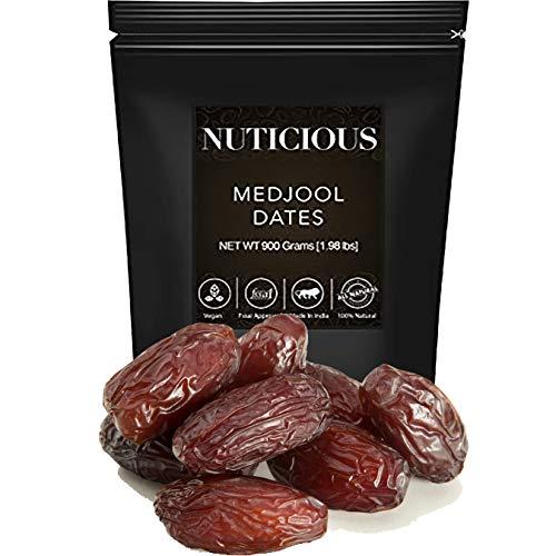 NUTICIOUS All Natural Medjool Dates Jumbo (Khajur)-900 Ge (Gourmet Food Premium Quality)