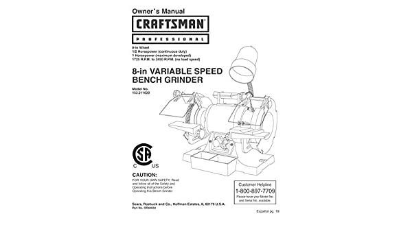 Groovy Craftsman 152 211620 Bench Grinder Owners Instruction Manual Alphanode Cool Chair Designs And Ideas Alphanodeonline