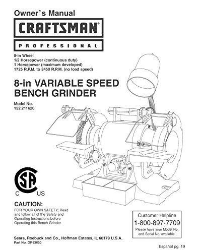 sears bench grinder manual