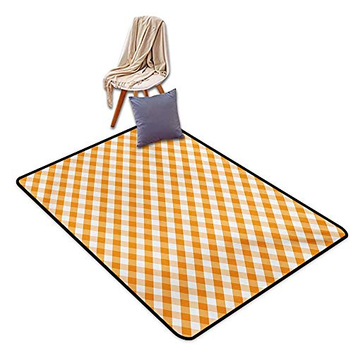 (Checkered Latex Backing Non Slip Door Mat Cross Weave Gingham Pattern in Orange and White Old Fashioned Classical Tile Water Absorption, Anti-Skid and Oil Proof 55