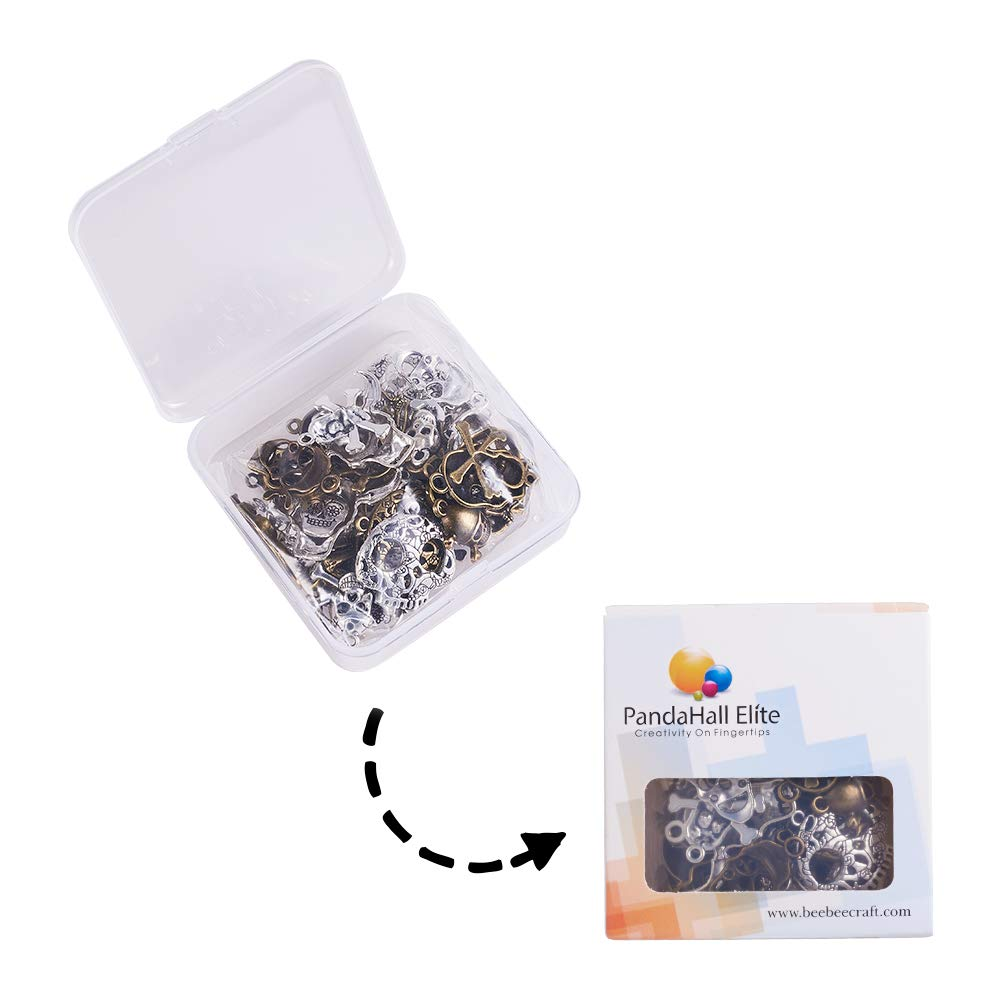 PH PandaHall 200pcs 2 Colors Number 0~9 Charms Flat Round Figures Beads for DIY Bracelets Necklaces Jewelry Making Antique Bronze /& Antique Silver