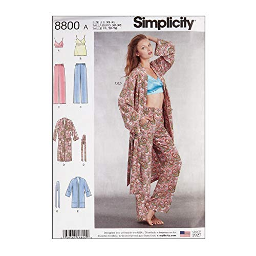 - Simply Creative Group Simplicity 8800 Misses' Robe Pants Top and Bralette A (Sizes XS-S-M-L-XL) Multi