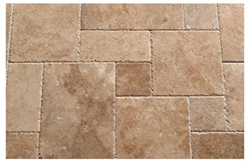 Walnut Travertine Roman / MIDI Versailles Pattern Tiles, Unfilled / Brushed & Chiseled (Lot of 180 Sq. Ft. (20 Bundles)) by Oracle Tile & Stone