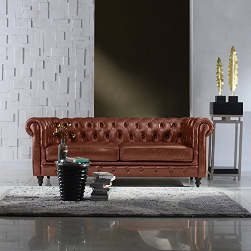 Classic Scroll Arm Real Italian Leather Chesterfield Sofa (Light Brown) (Leather Couch Chesterfield)