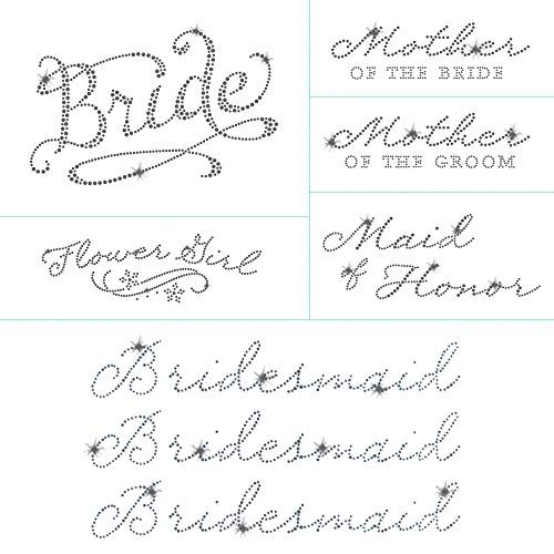 Romantic Wedding Pack 8 Pc Bride Iron on Rhinestone Crystal T-shirt Transfers By JCS Rhinestones