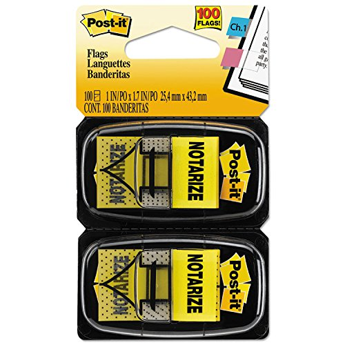 MMM680NZ2 Arrow Message 1quot; Flags, quot;Notarize,quot; Yellow, 2 50-Flag Dispensers/Pack
