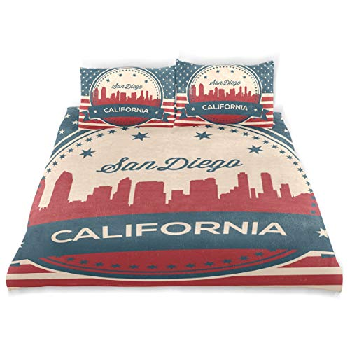 Franzibla California State San Diego Skyline Kids Bedding Duvet Cover Set,Twin Size 3 Piece Including 1 Duvet Cover and 2 Pillowcases