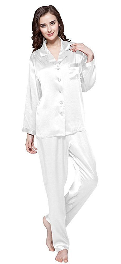 LilySilk Silk Pajamas for Women Comfy Two Piece Set Long Sleeve 16 Momme Pure Mulberry Natural Silk Sleepwear Ladies Natural White L/12