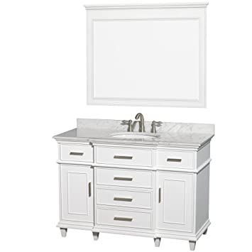 Wyndham Collection Berkeley 48 Inch Single Bathroom Vanity In White With  White Carrera Marble Top With