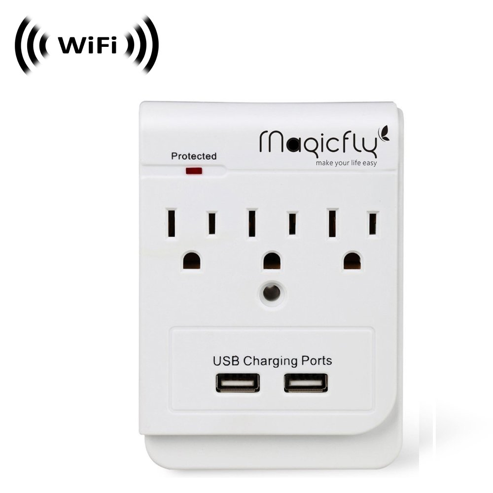 Wireless Spy Camera with WiFi Digital IP Signal, Recording & Remote Internet Access (Camera Hidden in 3 AC Outlet with Dual USB Charging Port Wall Charger))