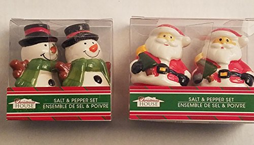 Holidays Christmas Set of 2 Kitchen Home Santa Clause Snowman Satl Pepper Shakers Dinner Table Decoration Deco Figurine