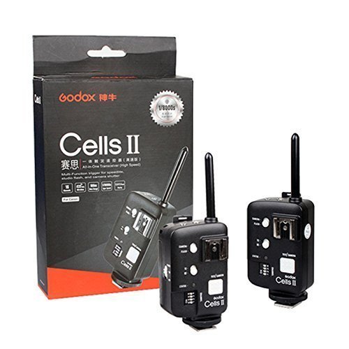 Godox Cells II Kit(2pcs) 1/8000 Sync Speed All-in-One Wireless Remote Ettl Ttl Flash Trigger Canon with Trigger Reveiver and Transmitter also As Wireless Shutter Release for Canon EOS DRSL Camera Connet Studio Strobe Monolight Flash Speedlite and Neewer/G by Godox