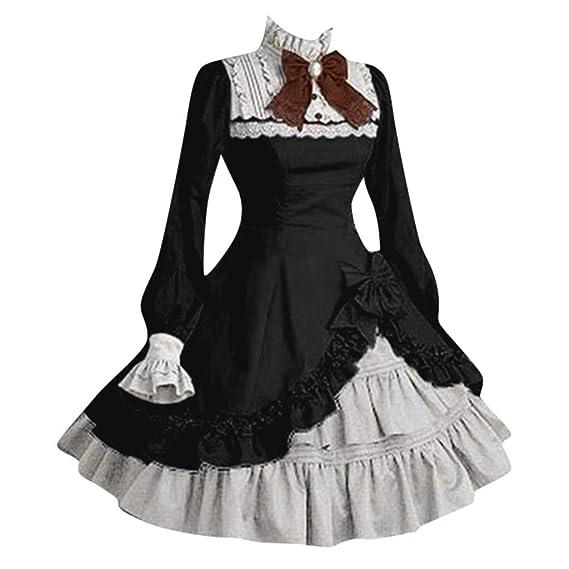 Damen Frau hohe Taille gotische viktorianische Spitze langen Rock Bankett Kleid