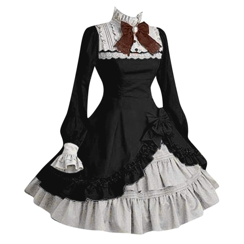 Nadition Vintage Lolita Dress ❤️️ Women Cute Lace Long Sleeve Bowtie Cosplay Costumes Party Dress with Bow Black