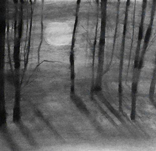 1 - 11x14 Through the Fog - Charcoal Drawing - Original Landscape Art - Dark Forest Home Decor - Black & White Landscape - Fine Art and Illustration - Gift Idea